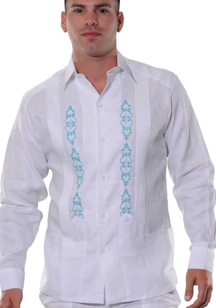 Hand Embroidered Irish Linen Guayabera Wedding Shirt