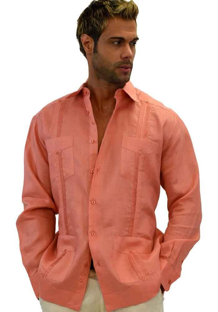 Traditional Cuban Guayabera Regular Linen. Long Sleeve. Four Pockets. Cuban Party Guayabera. Coral Color.