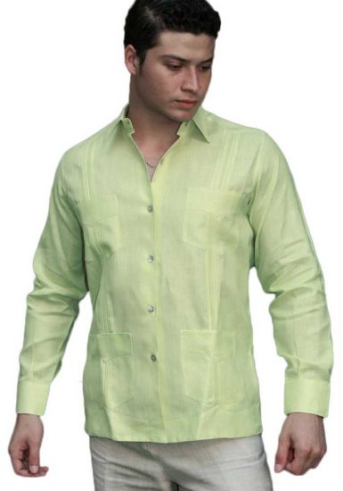 Premium Guayabera Slim Fit. Hight Quality. Premium Linen. Nacar Button. Green Color.  Back Orders or Demand.