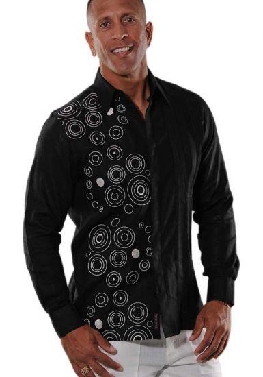 guayabera style casual BLACK
