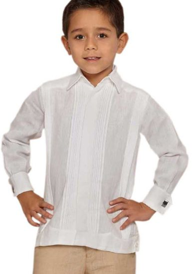 Deluxe Linen Guayabera for Kids. High Quality. RUN SMALL. White Color. Back Orders or Demand.