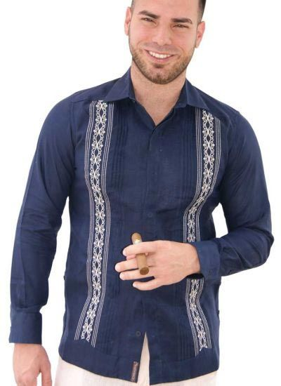 Bright Color Guayabera with Embroidery. Groomsmen. Double Eyelet for use Cufflinks. Navy Color. Back Orders or Demand.