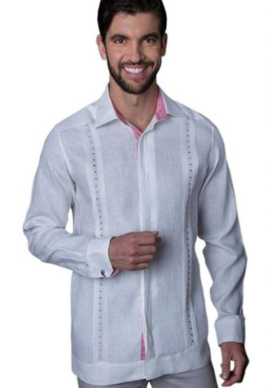 Guayabera Formal Shirt. 100% Linen. Long Sleeve. Finest Tuck & Embroidery. High Quality. Double Eyelet for use Cufflinks. White/Pink Color. Back Orders or Demand.