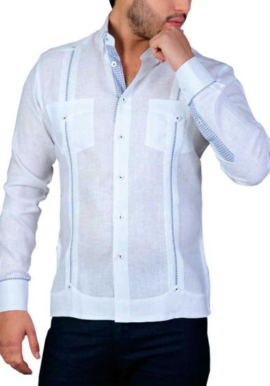 Linen Shirt Guayabera Long Sleeves. Details Print. White/Navy Color. Back Orders or Demand.