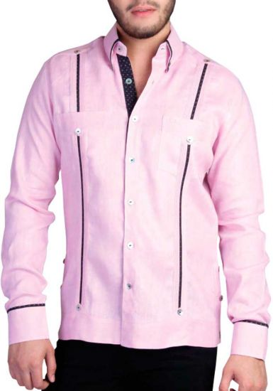 Exquisite Two Pockets Guayabera. Premium Linen Guayabera. Ribbon Print Style. Bebe Pink Color. Back Orders or Demand.