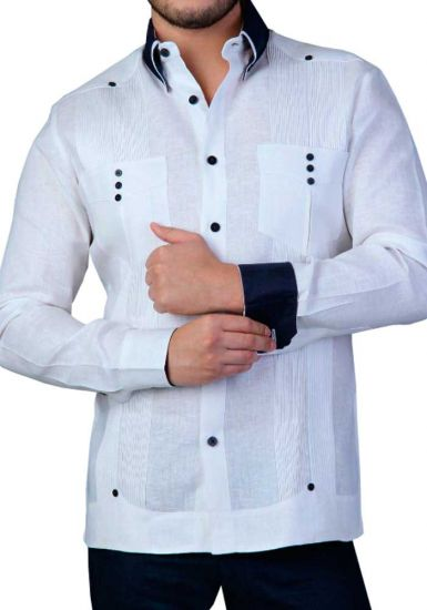 French Cuff Two Pocktes Guayabera. Slim Fit. Modern. Back Orders or Demand. White/Black Color.