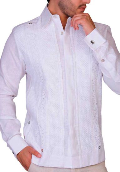 Pure White Grooms Deluxe Guayabera Finest Shirt. French Cuff. Hidden Button. Deluxe. Back Orders or Demand.
