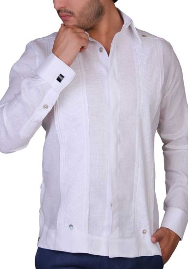 Exquisite Wedding Guayabera. Linen 100 %. White Color. French Cuff. Back Orders or Demand.