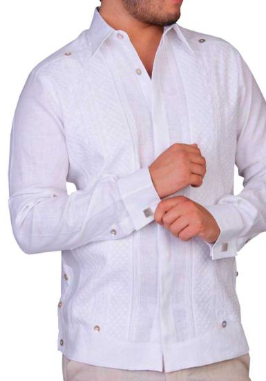 Luxury French Cuff Exquisite Linen Guayabera. Wedding. Back Orders or Demand.