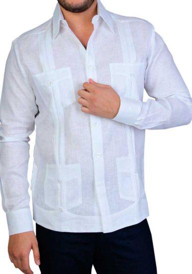Italian Linen Guayabera. Men's Tradicional 4 Pockets. Long Sleeve. High Quality. Double Eyelet for use Cufflinks. Back Orders or Demand.