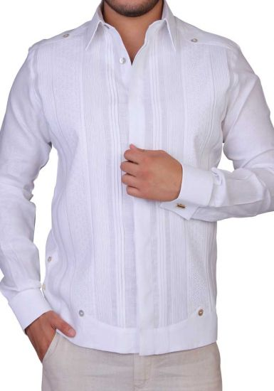 Exquisite Guayabera. Linen 100 %. White Color. French Cuff. Back Orders or Demand.