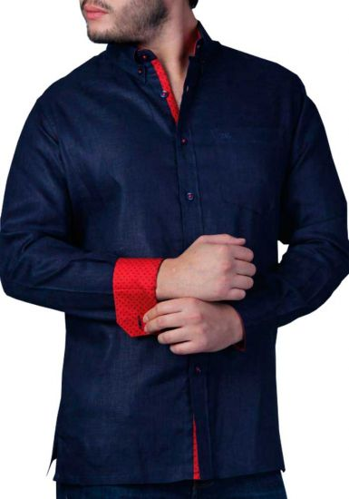 Men's Premium 100% Linen Guayabera Shirt Long Sleeves. One  Pocket. Design with Contrast Print Trim. Navy/Red Color. Back Orders or Demand.