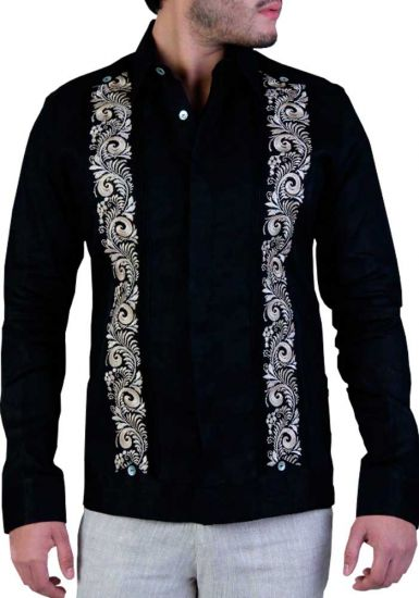 Exquisite Embroidery Linen Guayabera. Black Color. Back Orders or Demand.