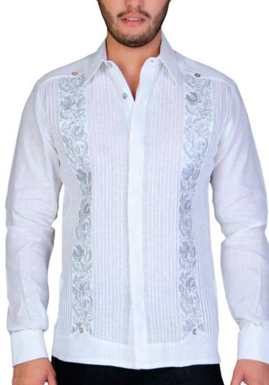 Exquisite Embroidery Guayabera. Linen 100 %. White/Gray Color. Back Orders or Demand.