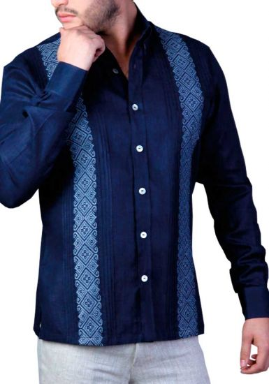 Deluxe Embroidery Guayabera. Elegant Guayabera for Destination Wedding. Linen 100 %. Royal Blue Color. Back Orders or Demand.