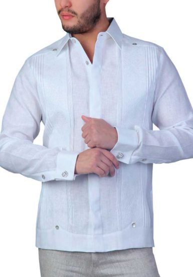 Wedding French Cuff Linen Guayabera. Embroidered. White Color. Back Orders or Demand.
