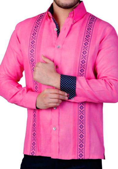 Embroidered Shirt. Finest Linen 100 % Shirt. Bright Color Guayabera. Dark Pink Color. Back Orders or Demand.