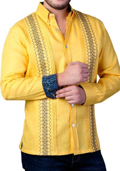 Two Colors Embroidery. Casual Finest Linen Shirt. Bright Color Guayabera. Linen 100 %. Yellow Color. Back Orders or Demand.