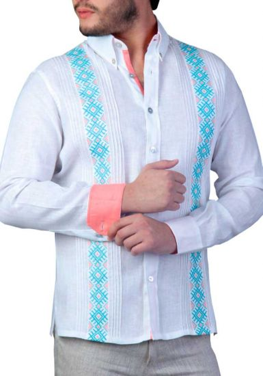 Embroidery Guayabera French Cuff Salmon. Fine details Embroidery. Linen 100 %. White/Aqua/Salmon Color. Back Orders or Demand.