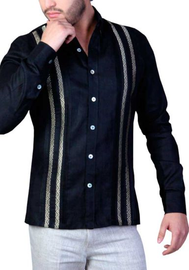 Elegant and Novel style. Shirt with finest embroidered details. Linen 100 %. Black Color. Back Orders or Demand.