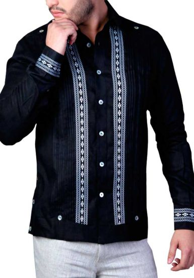 Elegant and Novel style. Shirt With Finest Embroidered Details. Linen 100 %. Black Color. Slim Fit. Back Orders or Demand.