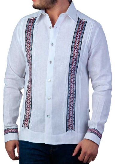 Deluxe Embroidery Guayabera. Linen 100 %. Elegant Guayabera for Destination Wedding. White Color. Back Orders or Demand.
