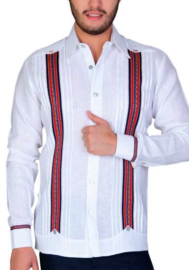 Linen Shirt Guayabera Long Sleeves. No pockets. Embroidered Strip. White/Red Color. Back Orders or Demand.