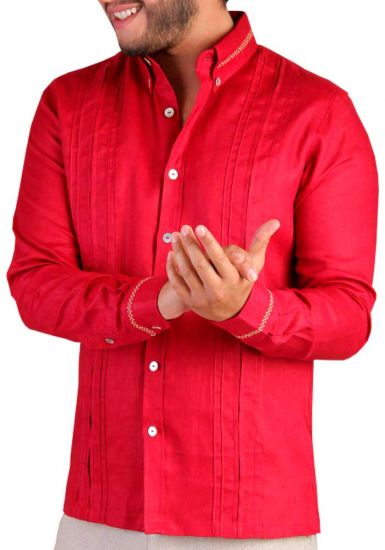 Men's Premium 100% Linen Guayabera Shirt Long Sleeves. No Pocket. Design with Contrast Print Trim. Red Color. Back Orders or Demand.