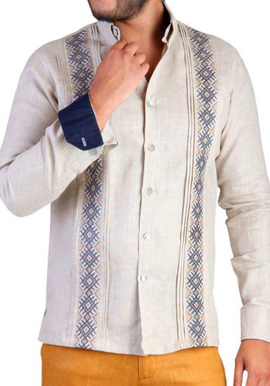 Deluxe Embroidery Guayabera. Linen 100 %. Elegant Guayabera for Destination Wedding. Groomsmen. Beige Color. Back Orders.