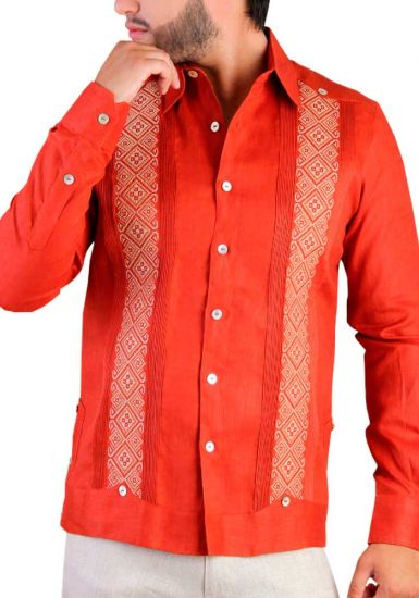 Deluxe Embroidery Guayabera. Linen 100 %. Elegant Guayabera for Destination Wedding. Back Orders. Orange Color.