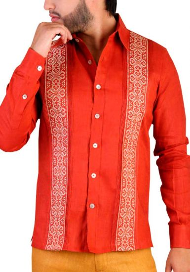 Deluxe Embroidery Guayabera. Elegant Guayabera for Destination Wedding. Linen 100 %. Orange Color. Back Orders or Demand.