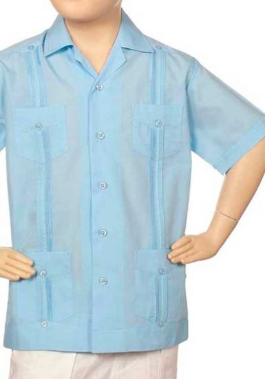 D'ACCORD Poly-Cotton Toddler Guayabera for Kids. Four pockets. Blue Color.