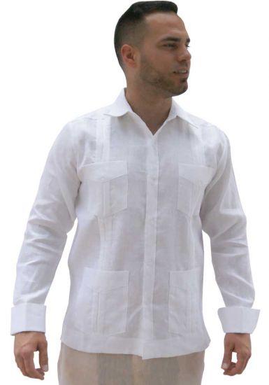 Deluxe French Cuff Premium Linen Guayabera. Exquisite Irish Linen. White Color.