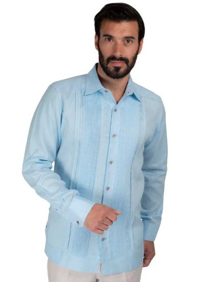 High Quality Shirt. Horizontal Pleats and Normal Pleats. Premium Irish Linen. Back orders or demand. Blue Color.