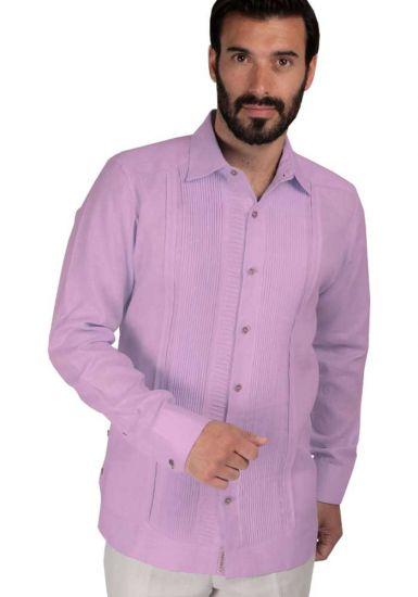 High Quality Shirt. Horizontal Pleats and Normal Pleats. Premium Irish Linen. Back orders or demand. Lilac Color.