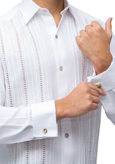 Wedding Groom Formal Shirt ~On Demand (Tailored) ~Dressy Shirt. ~Embroidery Sewn on front. Hand-made. White ~Convertible Cuff. Allow Cufflink ~Guayabera. NO pockets ~Hidden Buttons ~Fitted Style, Perfect Fit ~Fine details. Hand-Made ~Soft Wash & Iron. Dry
