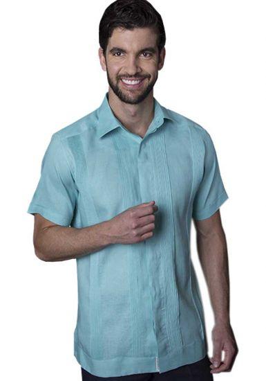 No pocktes with Pleats Guayabera Slim Fit. High Quality Shirt. Linen Premium. Short Sleeves. Aqua Color. Back Orders or Demand.