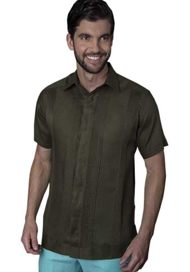 No pocktes with Pleats Guayabera Slim Fit. High Quality Shirt. Linen Premium. Short Sleeves. Olivo Color. Back Orders or Demand.