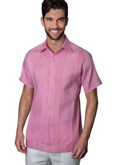 No pocktes with Pleats Guayabera Slim Fit. High Quality Shirt. Linen Premium. Short Sleeves. Pink Color. Back Orders or Demand.