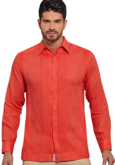 No pocktes with Pleats Guayabera Slim Fit. High Quality Shirt. Linen Premium. Coral Color. Back Orders or Demand.