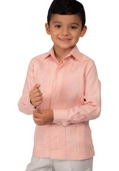 Deluxe Linen Guayabera for Kids. High Quality. RUN SMALL. Silver Pink Color. Back Orders or Demand.