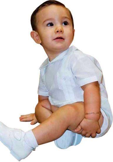 Poliester Romper Guayabera. Baptism  Babies guayabera. Perfect Gift.