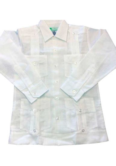Spanish Linen Look Guayaberas Long Sleeve for Kids. UNIQUE US! for Kids. White Color. Runs Small
