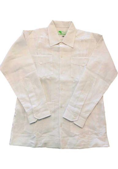 Crude Cotton - (Manta Lavada) Guayaberas Long Sleeve for Kids. UNIQUE US! for Kids. White Color.