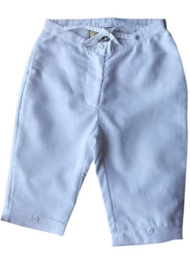 Drawstring Girls Linen Pants. Comfortable for Girls. Runs By Age. White.