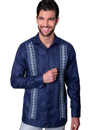 Elegant and novel style. Shirt with fine details of fraying and Hand Embroidery. Back Orders or Demand. Navy/Gray Color.