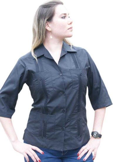 Wholesale Uniform Guayabera for Ladies. 3/4 Sleeve. Any Color & Size. Back Orders or Demand.