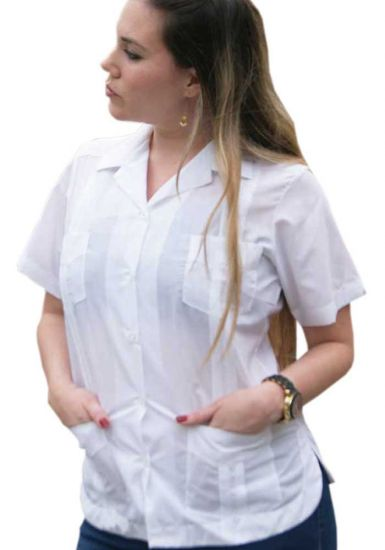 Wholesale Uniform Guayabera for Ladies. Short Sleeve. Any Color & Size. Back Orders or Demand.