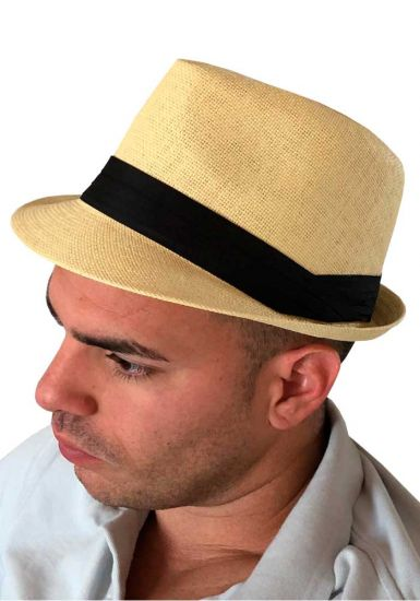 Fedora Beautiful Straw Hat. Cuban Style. Natural Color. Cubanito Party. Up to 5 years