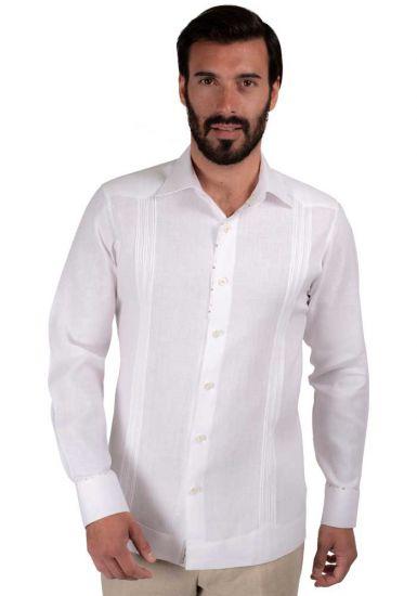 Linen Shirt Guayabera Long Sleeves. Details Print. White/Beige Color. Back Orders or Demand.